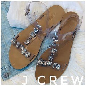 2d6d2efa7b78a9 J CREW jeweled clear plastic t-strap sandals